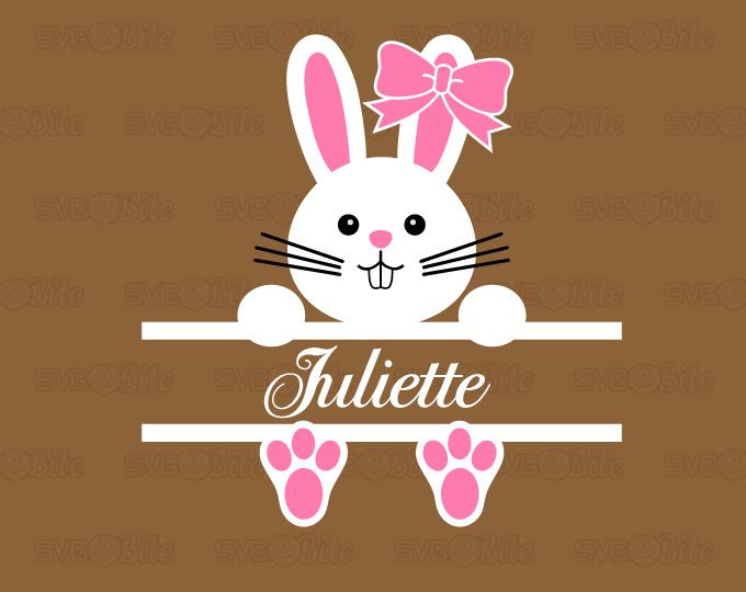 Sweet Easter Split Bunny SVG DXF PNG EPS cutting files for Cricut ,  Silhouette and more.