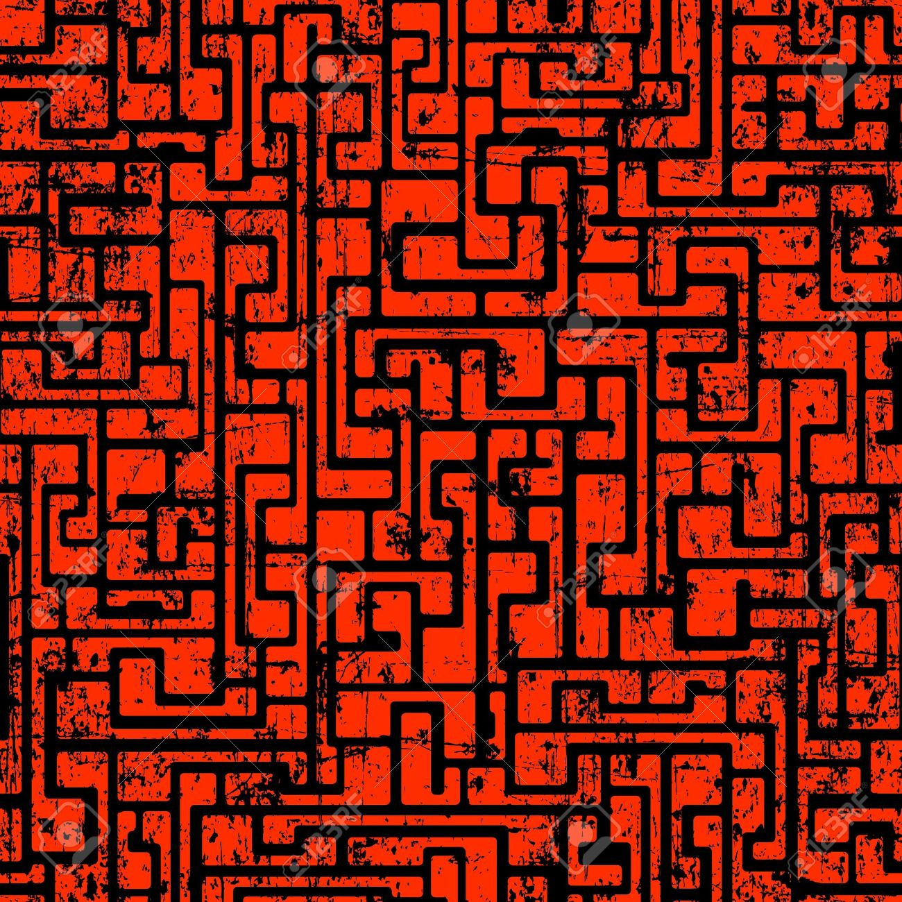Labyrinth Abstract Seamless Grunge Pattern In Dark Red Colors.