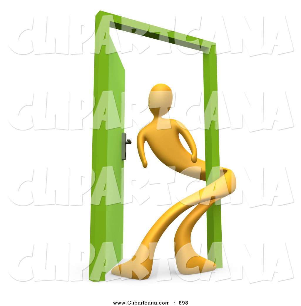 Clip Art of a Yellow Man Twisted Around the Frame of an Open Green.