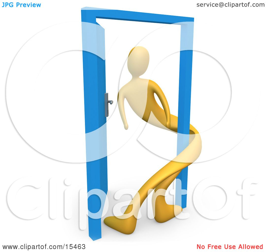 Yellow Person Twisted Around The Frame Of An Open Blue Door.