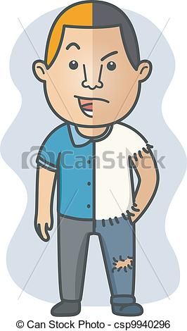 Clip Art Vector of Split Personality.
