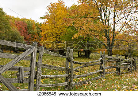 Stock Image of Split rail fence in Fall k2066545.