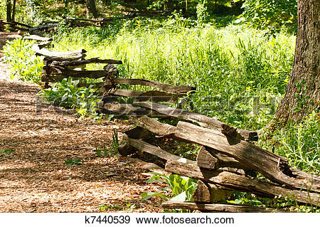 Stock Photograph of Split Rail Fence Through a Park Meadow.