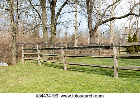Stock Photograph of Split Rail Fence k34434199.