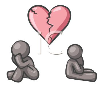 Two People with Broken Hearts Facing a Split Up.