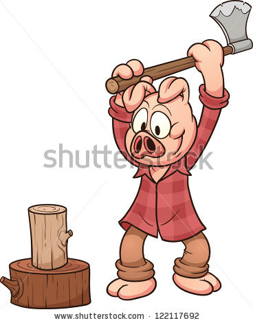 Lumberjack Pig Chopping Wood Vector Clip Stock Vector 122117692.