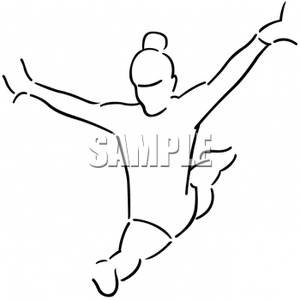 Clipart of a Gymnast Doing the Splits and Balancing.