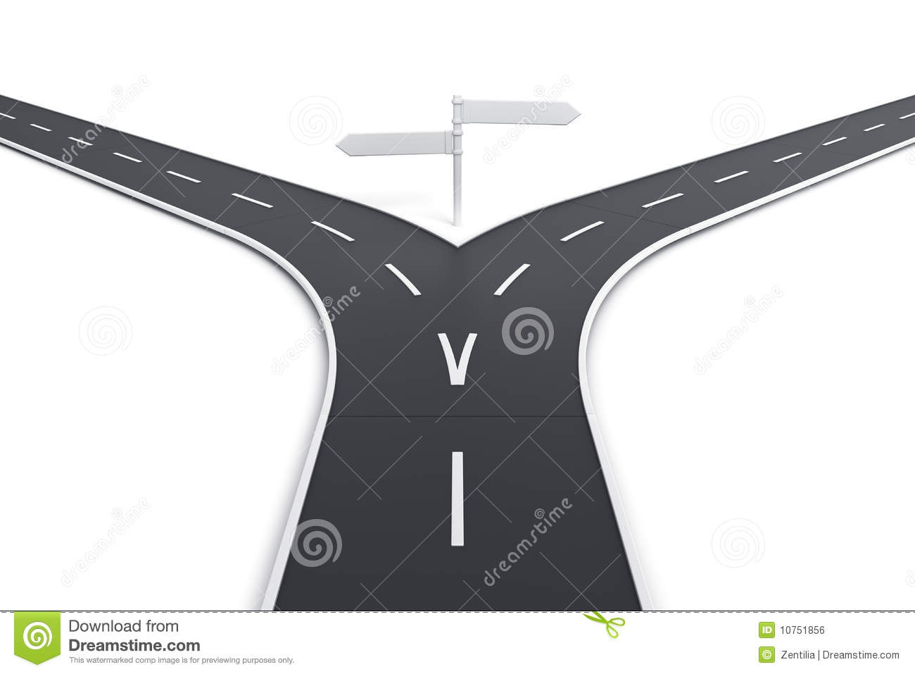 Split Road Clipart.