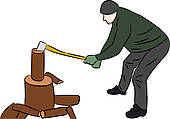 Man Chopping Wood Clip Art.