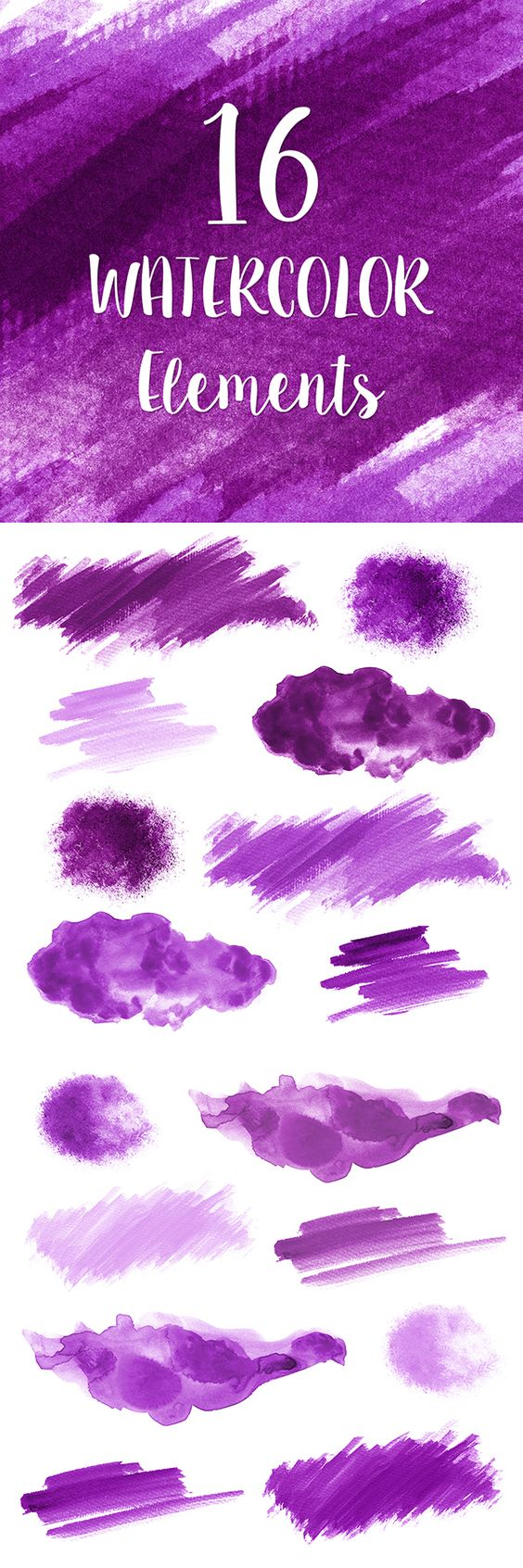 16 Purple Watercolor Splotches, Splatters, Brush Strokes; Purple.