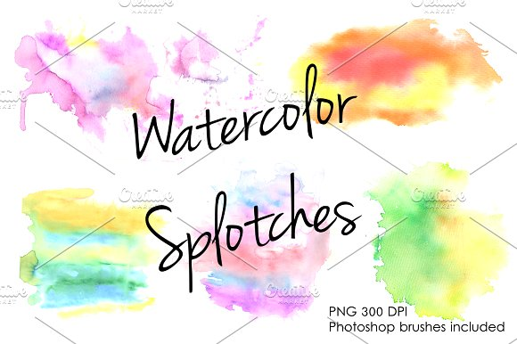 Watercolor splotches clipart set. ~ Brushes on Creative Market.