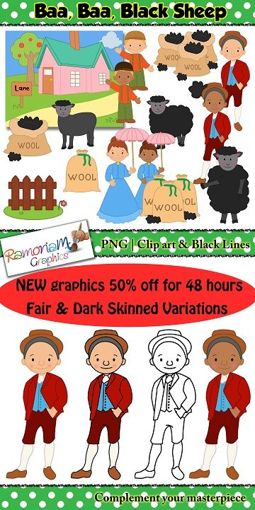 Baa, Baa, Black Sheep Clip art.