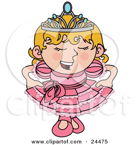 Clipart Illustration of a Spoiled Blond Princess Girl In A Pink.