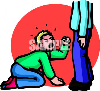 Royalty Free Clip Art Image: A spoiled boy crying at the feet of.