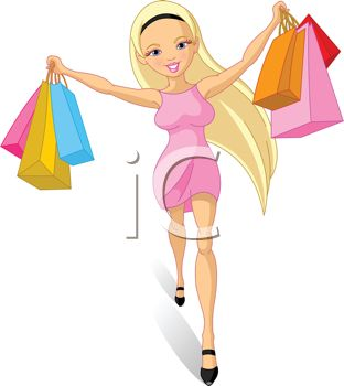Spoiled Young Lady or Girl Shopping.