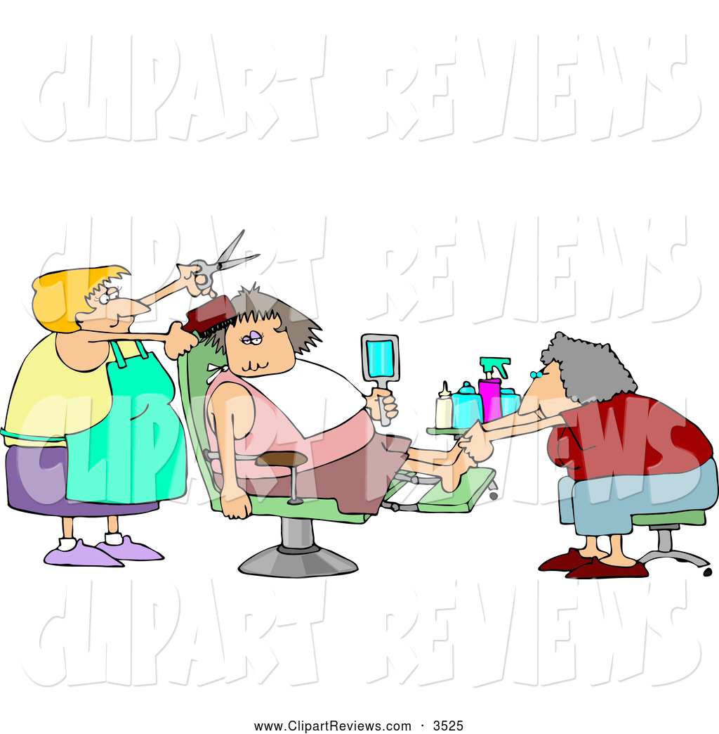 Clip Art of a Chubby Spoiled Woman Getting a Pedicure and Haircut.