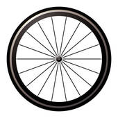 Clipart of bike wheel with spokes and tire isolated on white.