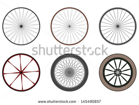 Set Six Silhouettes Wheels Spokes On Stock Vector 145490857.