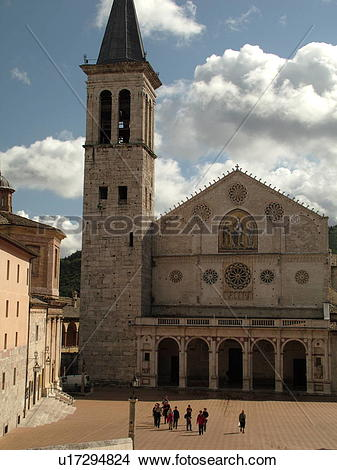Stock Photo of Spoleto, Umbria, Italy, Europe, The cathedral in.