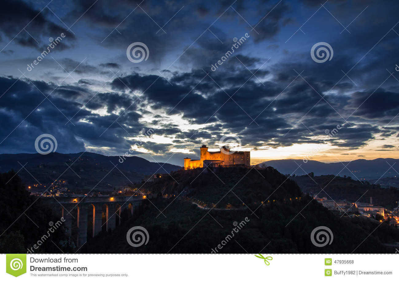Spoleto By Night Stock Photo.