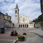 Picture of Group of people sitting in front of church, Spoleto.