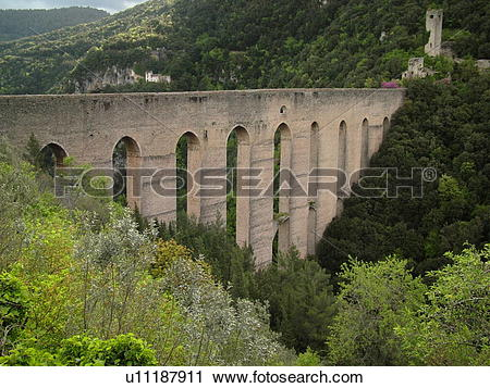 Stock Photography of Spoleto, Umbria, Italy, Europe, Ponte delle.