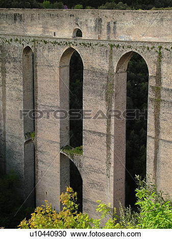 Stock Photography of Italy, Spoleto, Umbria, Europe, Ponte delle.