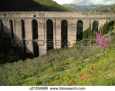 Stock Photograph of Spoleto, Italy, Umbria, Europe, Ponte delle.