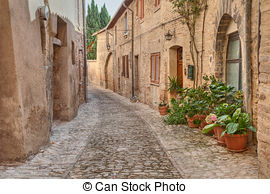 Pictures of antique alley in Spoleto, Umbria, Italy.