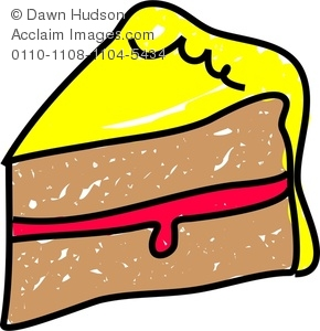 Clipart Image of A Whimsical Drawing of a Slice of Sponge Cake.