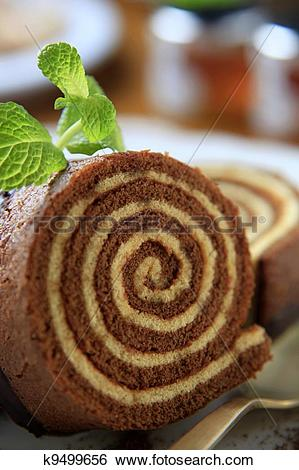 Stock Images of Sponge cake roll k9499656.