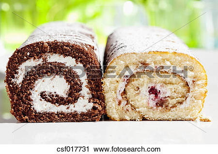 Stock Photography of Chocolate and raspberry roll sponge cake.