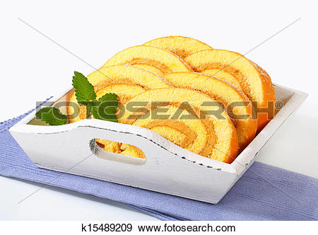 Stock Photograph of Mocha sponge cake roll k15489209.