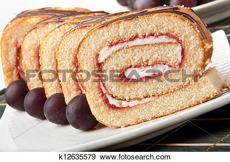 Stock Photograph of Swiss roll with jam k12635579.