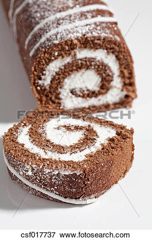Picture of Chocolate roll sponge cake, close up csf017737.