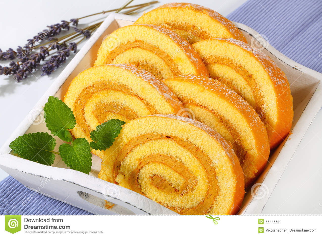 Mocha Sponge Cake Roll Stock Images.