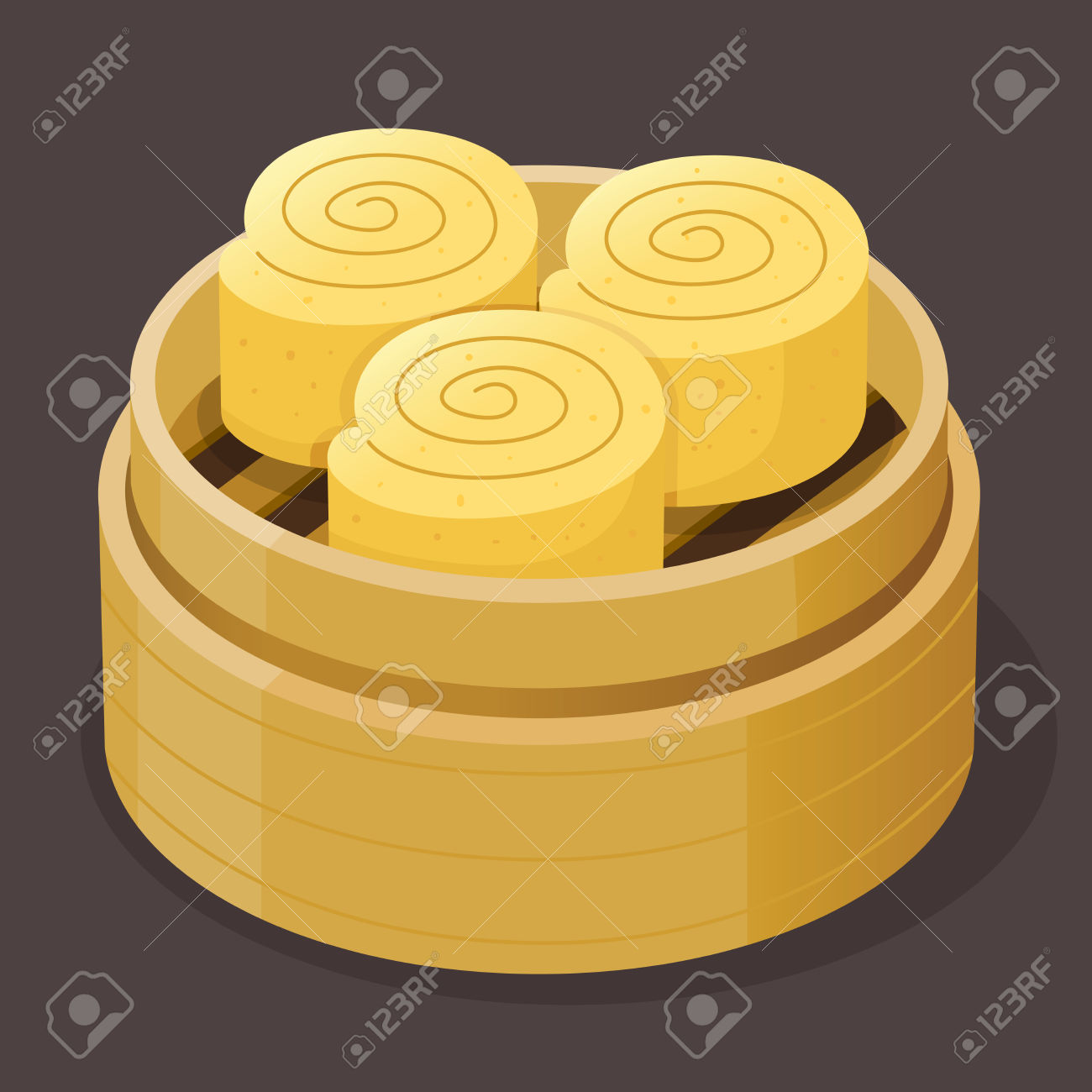 Steamed Custard Roll Sponge Cake Dim Sum On A Bamboo Tray, Vector.