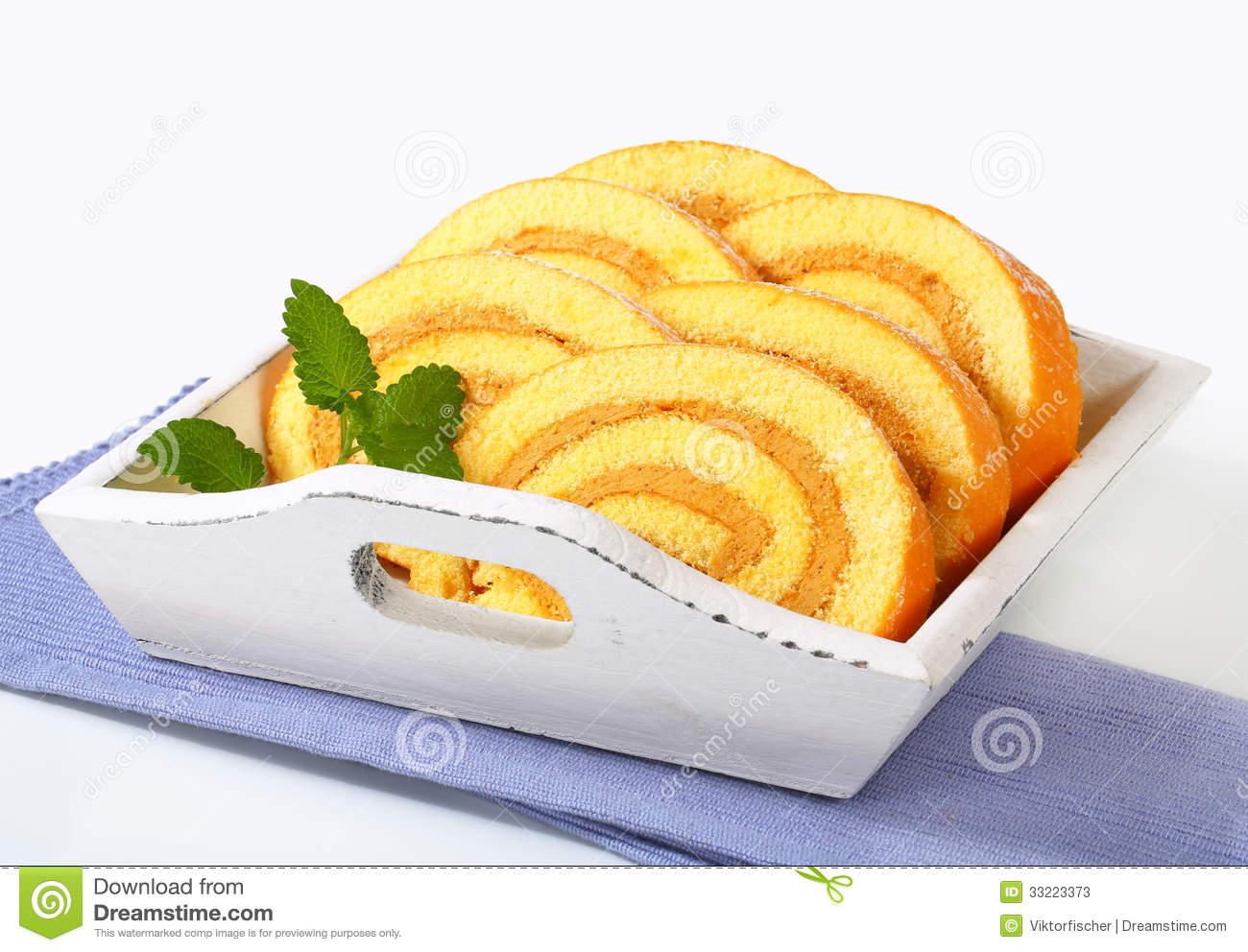 Mocha Sponge Cake Roll Stock Images.