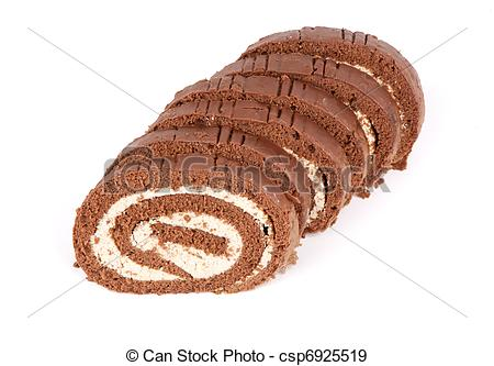 Stock Photographs of Sponge cake roll isolated on a white.