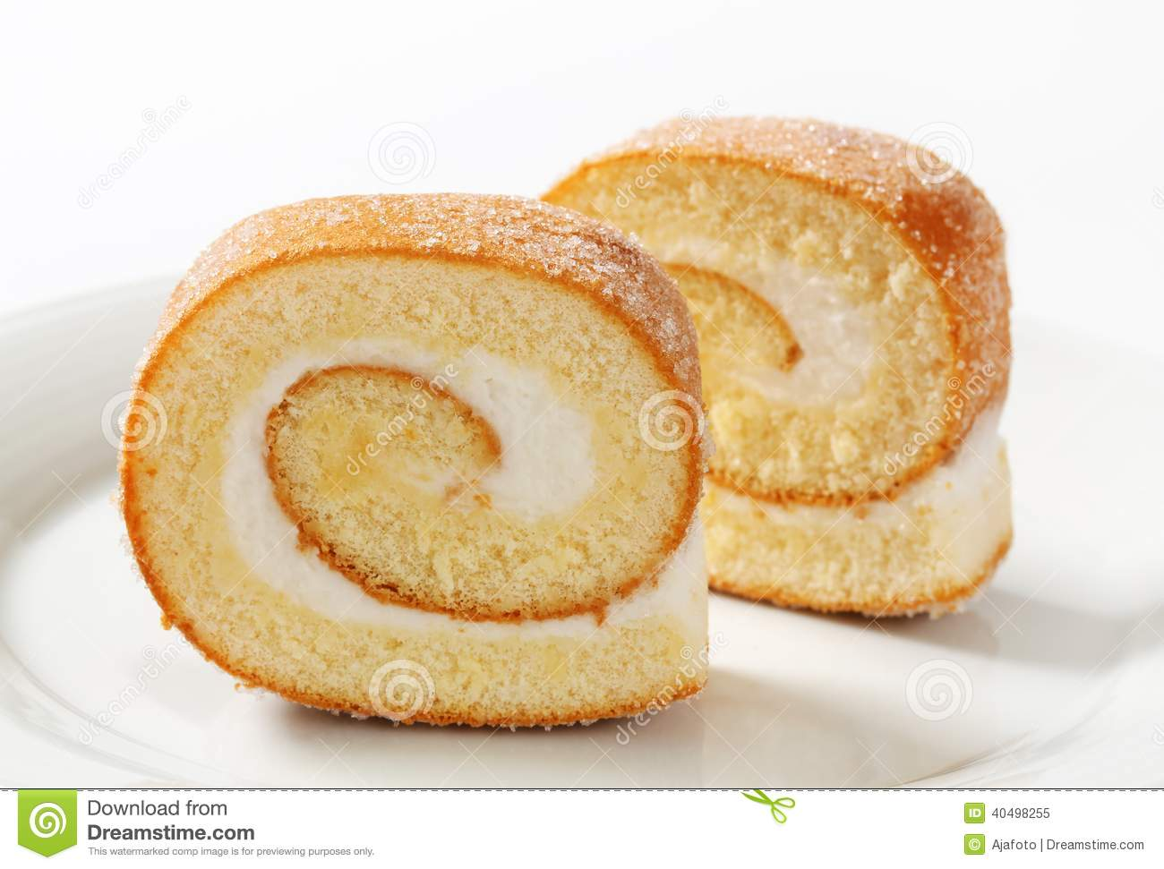 Slices Of Swiss Roll Stock Photo.