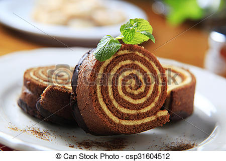Stock Photography of Sponge cake roll.