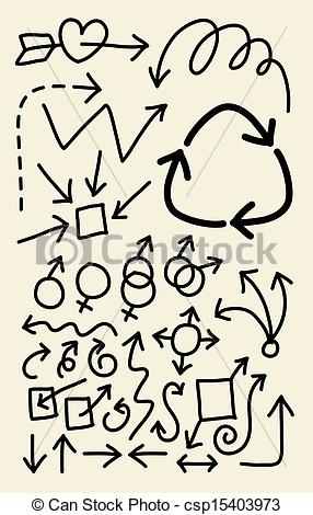 Vectors Illustration of Doodle Arrow Symbols.