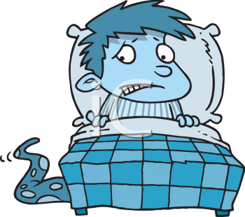 Royalty Free Clip Art Image: Little Boy in the Dark Scared of a.