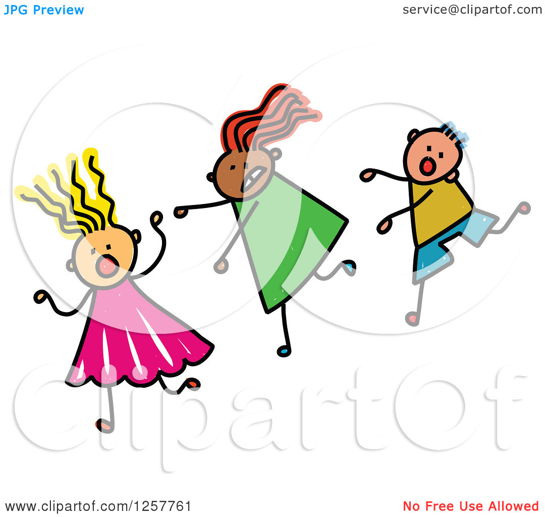 Clipart of a Diverse Group of Scared Stick Children Running.
