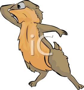 Clipart Illustration of a Startled Cartoon Groundhog In Color.