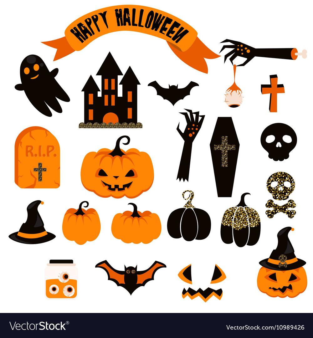 Halloween clipart set Spooky pumpkin icons.