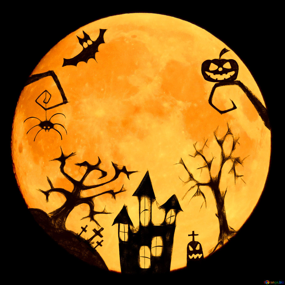 Download free picture Halloween moon clipart on CC.