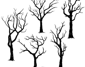 Spooky Tree Clipart Outline.
