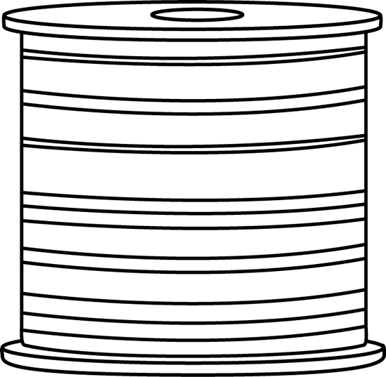 Black and White Spool of Thread Clip Art.