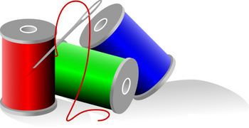 Free Clip Art Picture of Spools of Colored Thread.